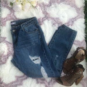 JustFab distressed boyfriend jeans, med.wash, s.30